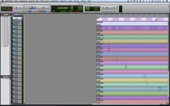 Das Pro Tools Edit-Window der Film-Ton-Mischung des JaBro-Image-Film.